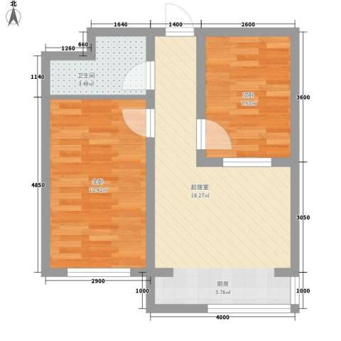 翔达・江湾御景2室0厅1卫0厨66.00㎡户型图
