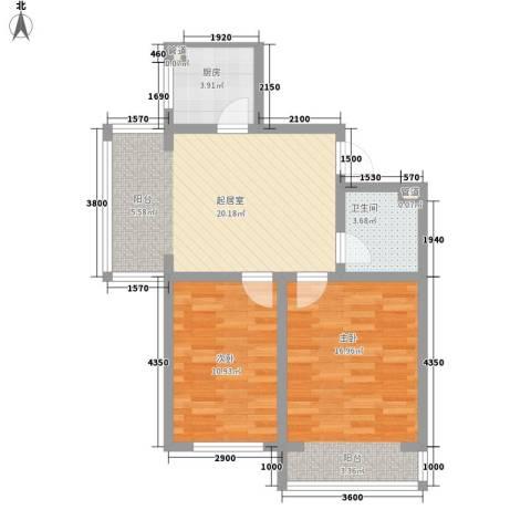 翔达・江湾御景2室0厅1卫1厨85.00㎡户型图