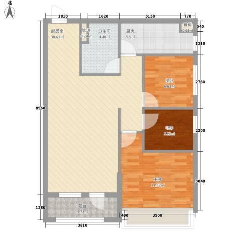 越秀・星汇蓝海3室0厅1卫1厨92.00㎡户型图