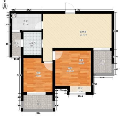 百大春城2室0厅1卫1厨83.00㎡户型图