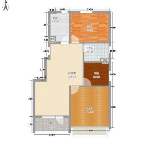 越秀・星汇蓝海3室0厅1卫1厨91.00㎡户型图