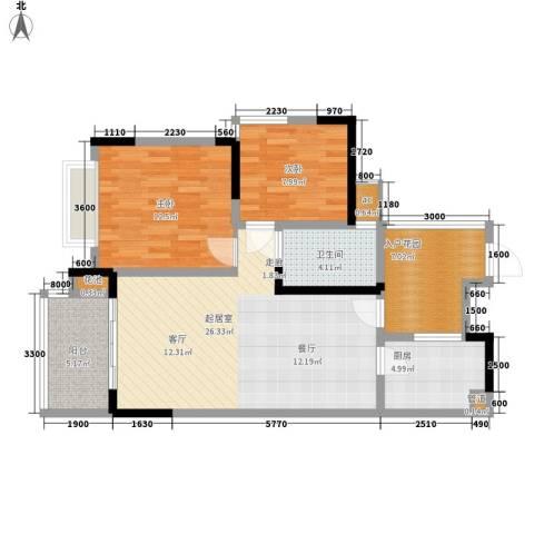 富洲新城2室0厅1卫1厨71.00㎡户型图