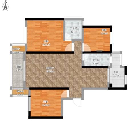 玉湖新城花园3室1厅2卫1厨138.00㎡户型图