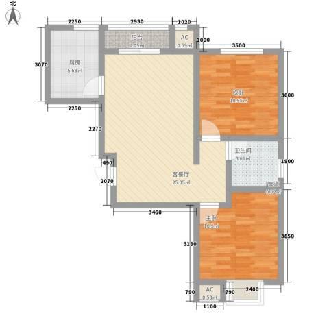 宝石小区2室1厅1卫1厨87.00㎡户型图