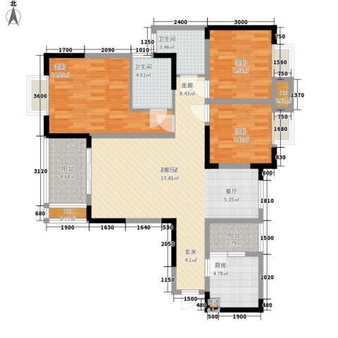 融汇半岛香缇漫山3室0厅2卫1厨120.00㎡户型图