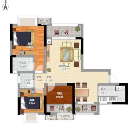 美丽泽京3室1厅2卫1厨107.00㎡户型图
