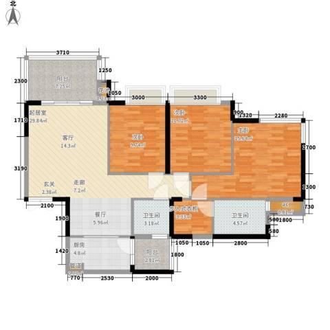 富洲新城3室0厅2卫1厨97.00㎡户型图