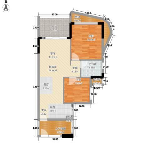 森林湖2室0厅1卫0厨77.00㎡户型图