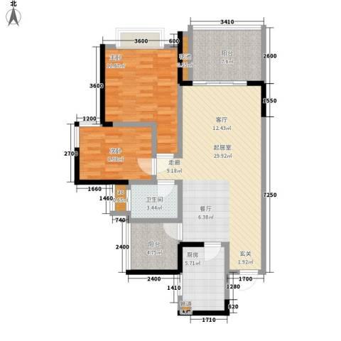 富洲新城2室0厅1卫1厨77.00㎡户型图