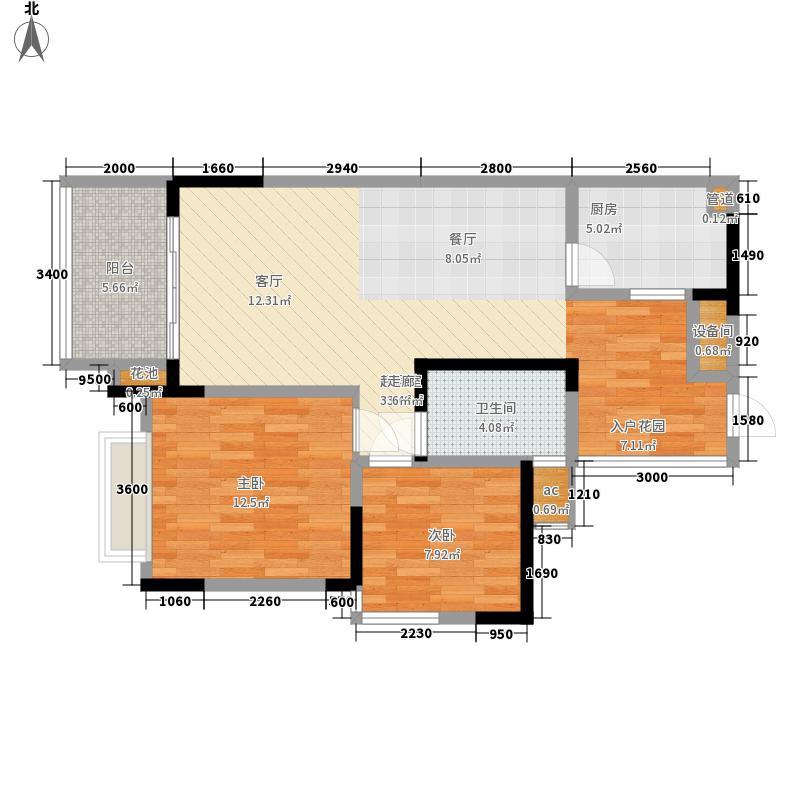 富洲新城71.45㎡一期9号楼A3面积7145m户型