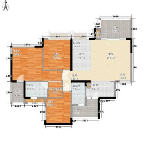 富洲新城3室0厅2卫1厨103.00㎡户型图