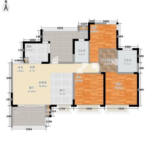 富洲新城3室0厅2卫1厨116.00㎡户型图