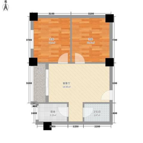 金碧阁2室1厅1卫1厨66.00㎡户型图