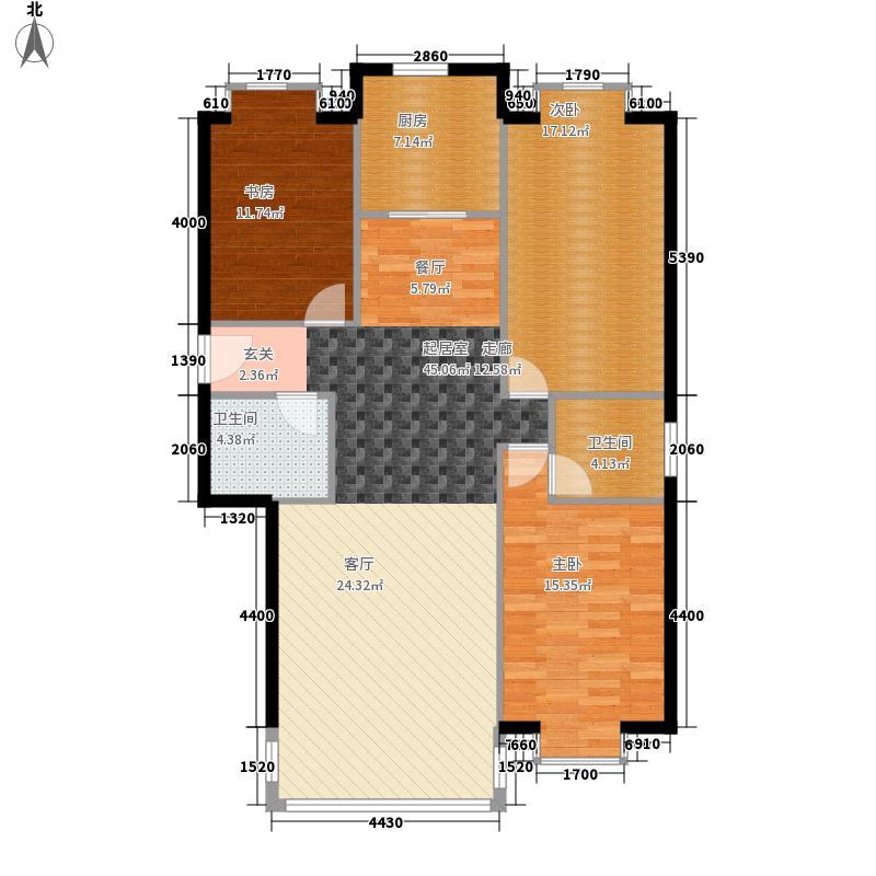 三汇沁园135.81㎡9号楼K2户型3室2厅2卫1厨