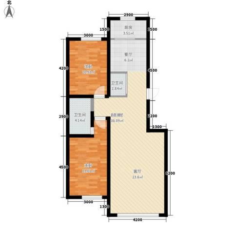 御景名家2室0厅2卫1厨104.00㎡户型图