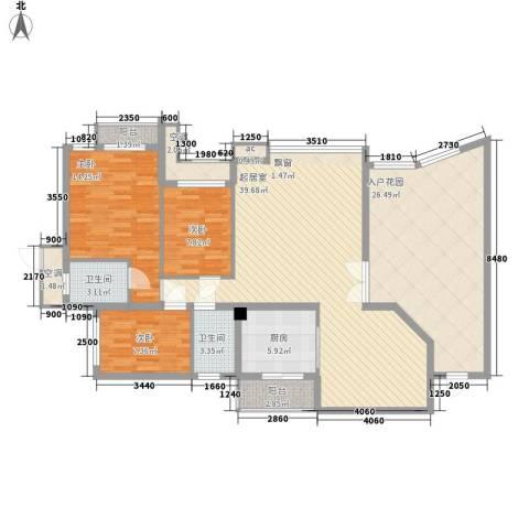 富康豪庭3室0厅2卫1厨134.00㎡户型图