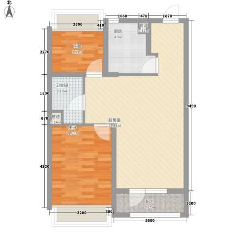 越秀・星汇蓝海2室0厅1卫1厨79.00㎡户型图