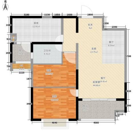 恒大名都2室0厅1卫1厨105.29㎡户型图