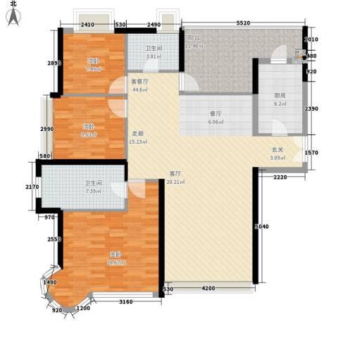 世纪城国际公馆一期3室1厅2卫1厨159.00㎡户型图