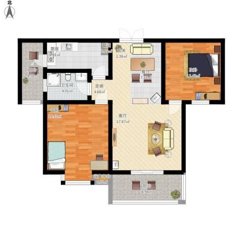 大地之歌2室1厅1卫1厨121.00㎡户型图