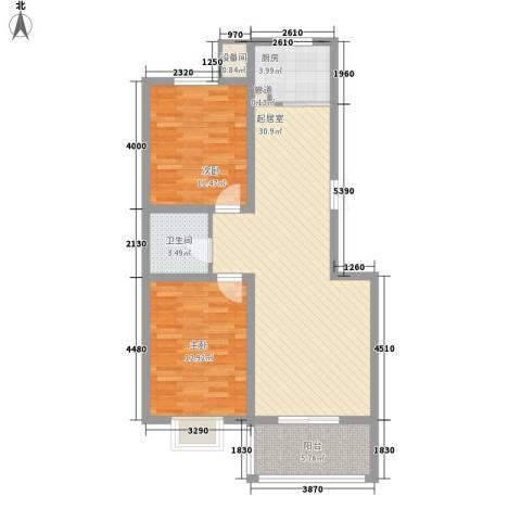 空港国际2室0厅1卫1厨98.00㎡户型图