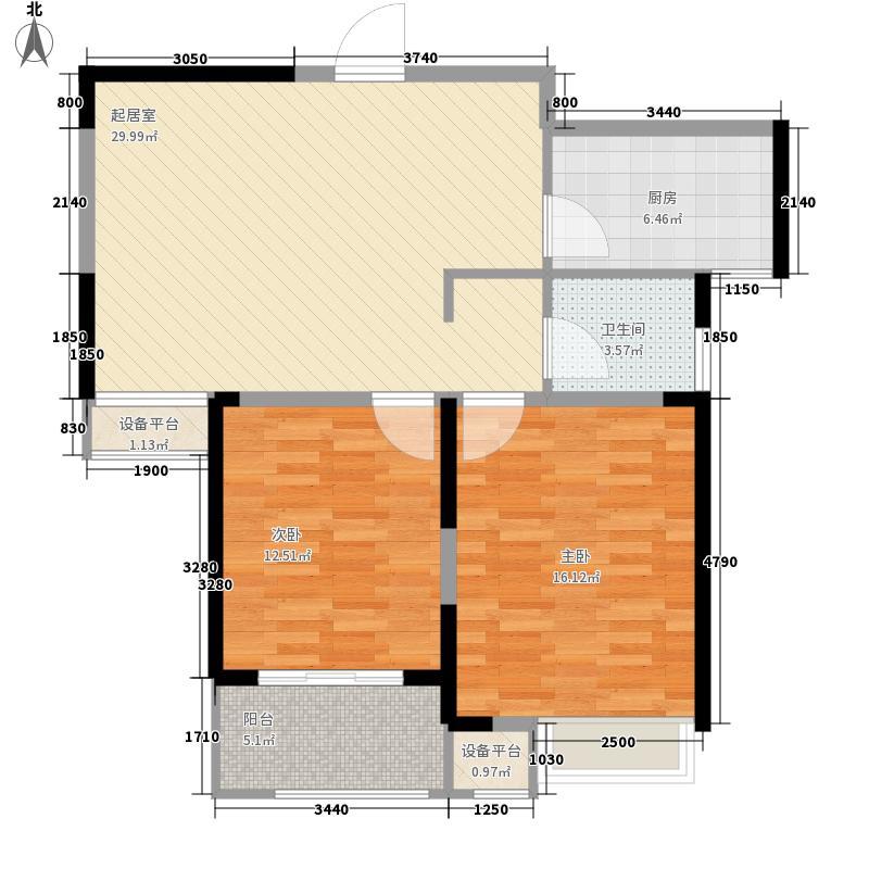 绿地臻城85.00㎡绿地臻城户型图一期1号楼E2户型2室2厅1卫1厨户型2室2厅1卫1厨