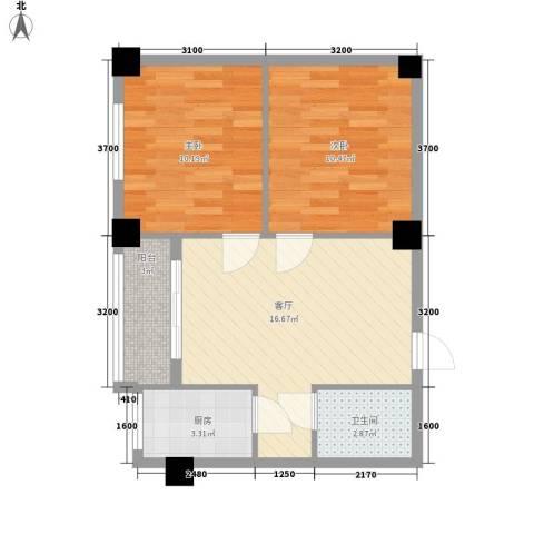 天星花园2室1厅1卫1厨66.00㎡户型图