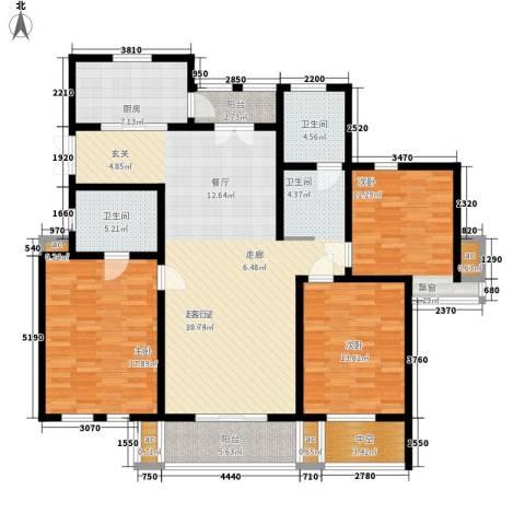 城市经典四期高迪3室0厅2卫1厨140.00㎡户型图