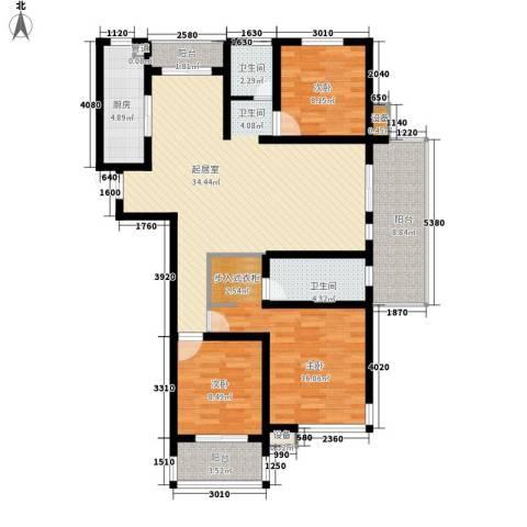 百大春城3室0厅2卫1厨137.00㎡户型图