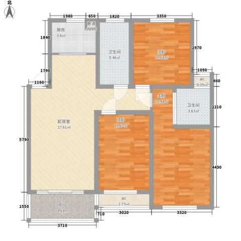 香泉岭3室0厅2卫1厨123.00㎡户型图