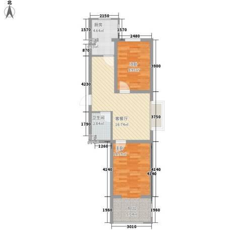 满融公馆2室1厅1卫1厨66.00㎡户型图