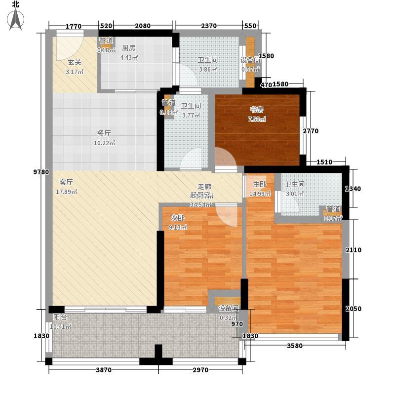 中德英伦联邦90.00㎡B区13、15号楼S户型3室2厅2卫1厨