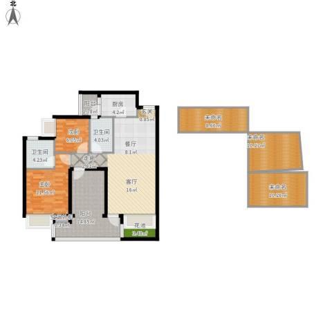 领地海纳天河花园2室1厅2卫1厨152.00㎡户型图