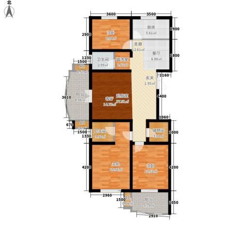 恒隆花园3室0厅2卫1厨134.00㎡户型图