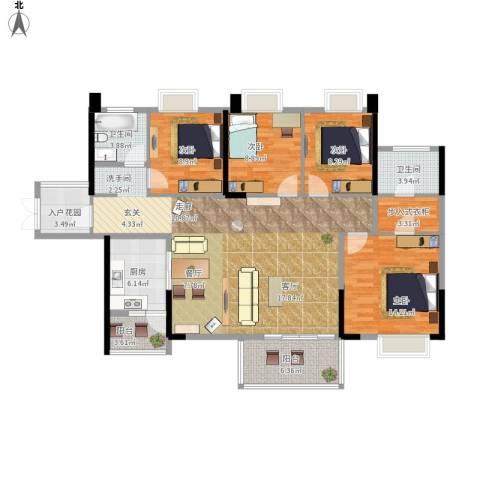 坤元・水木清华4室1厅2卫1厨158.00㎡户型图