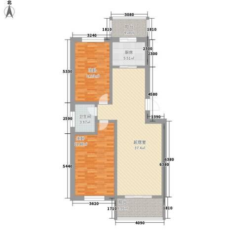 天长嘉园2室0厅1卫1厨106.00㎡户型图
