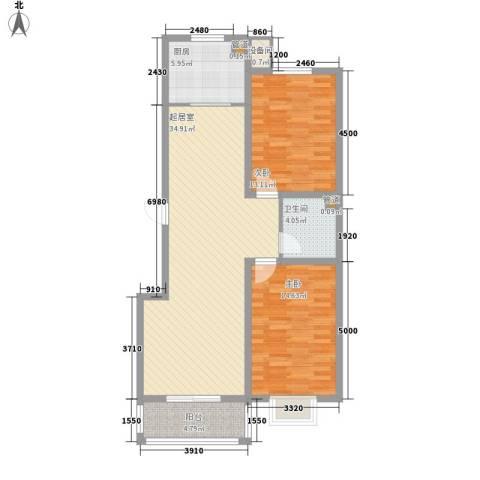 空港国际2室0厅1卫1厨109.00㎡户型图