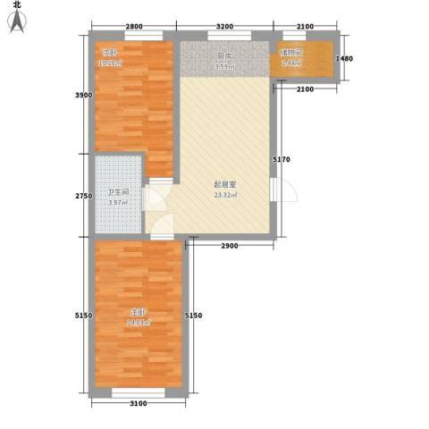 江华一区2室0厅1卫0厨74.00㎡户型图