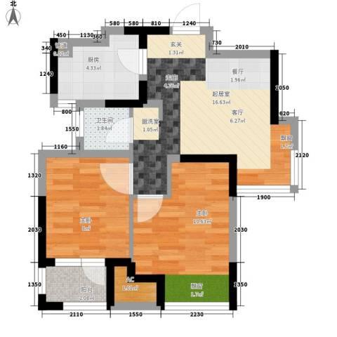 荣盛楠湖郦舍2室0厅1卫1厨65.00㎡户型图