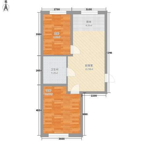 江华一区2室0厅1卫0厨70.00㎡户型图