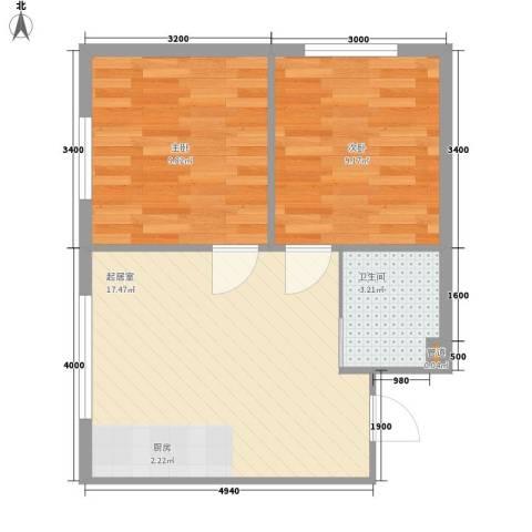 江华一区2室0厅1卫0厨54.00㎡户型图