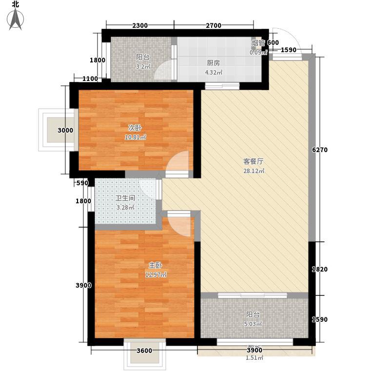 恒基大厦F户型:两房两厅一卫,98.73平米_调整大小户型2室2厅1卫1厨