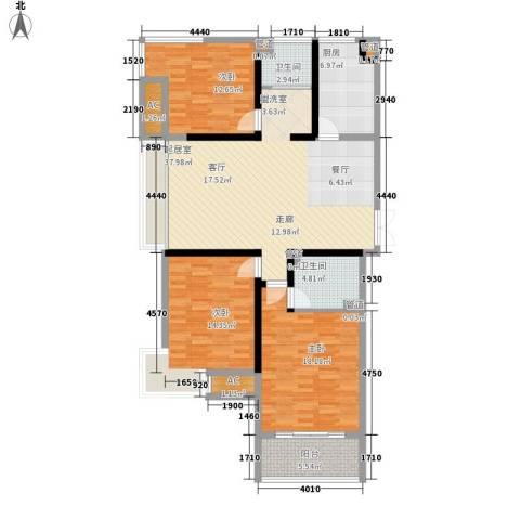 国泰名都3室0厅2卫1厨122.28㎡户型图