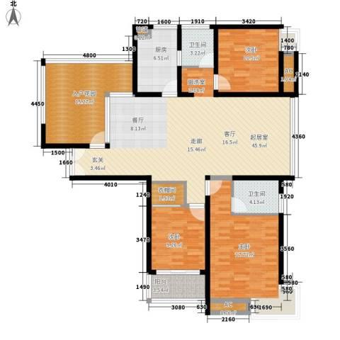 国泰名都3室0厅2卫1厨137.40㎡户型图
