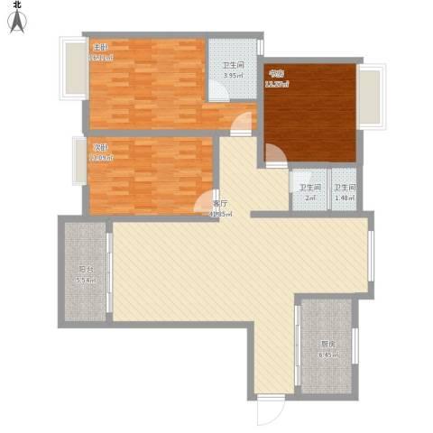 海陵首府3室1厅3卫1厨147.00㎡户型图