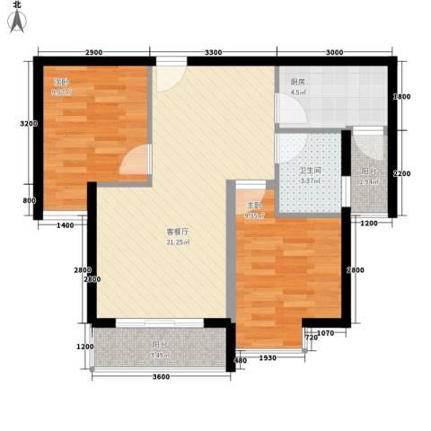 上河城2室1厅1卫1厨76.00㎡户型图