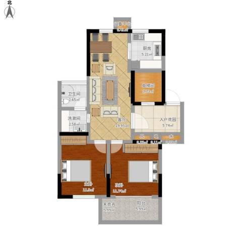 恒熙湖庭2室1厅1卫1厨105.00㎡户型图