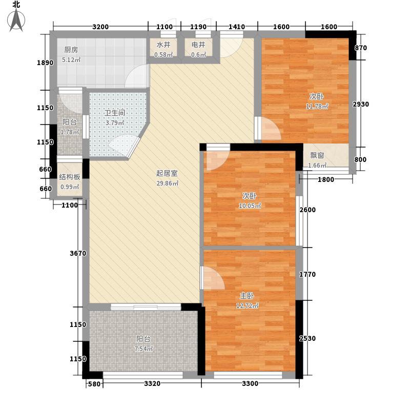 江临天下1#C3#C户型3室2厅1卫1厨