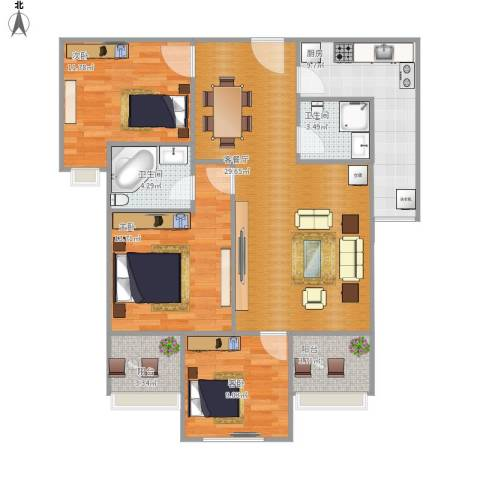 万景城3室1厅2卫1厨120.00㎡户型图