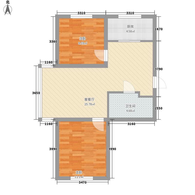��香谷80.00㎡户型图厅室户型2室1厅1卫1厨